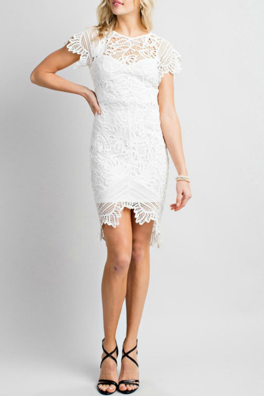 Pretty Little Things Asymetrical Lace Dress - Front Cropped Image