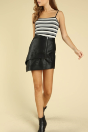Honey Punch Asymetrical Leather Mini Skirt - Front cropped