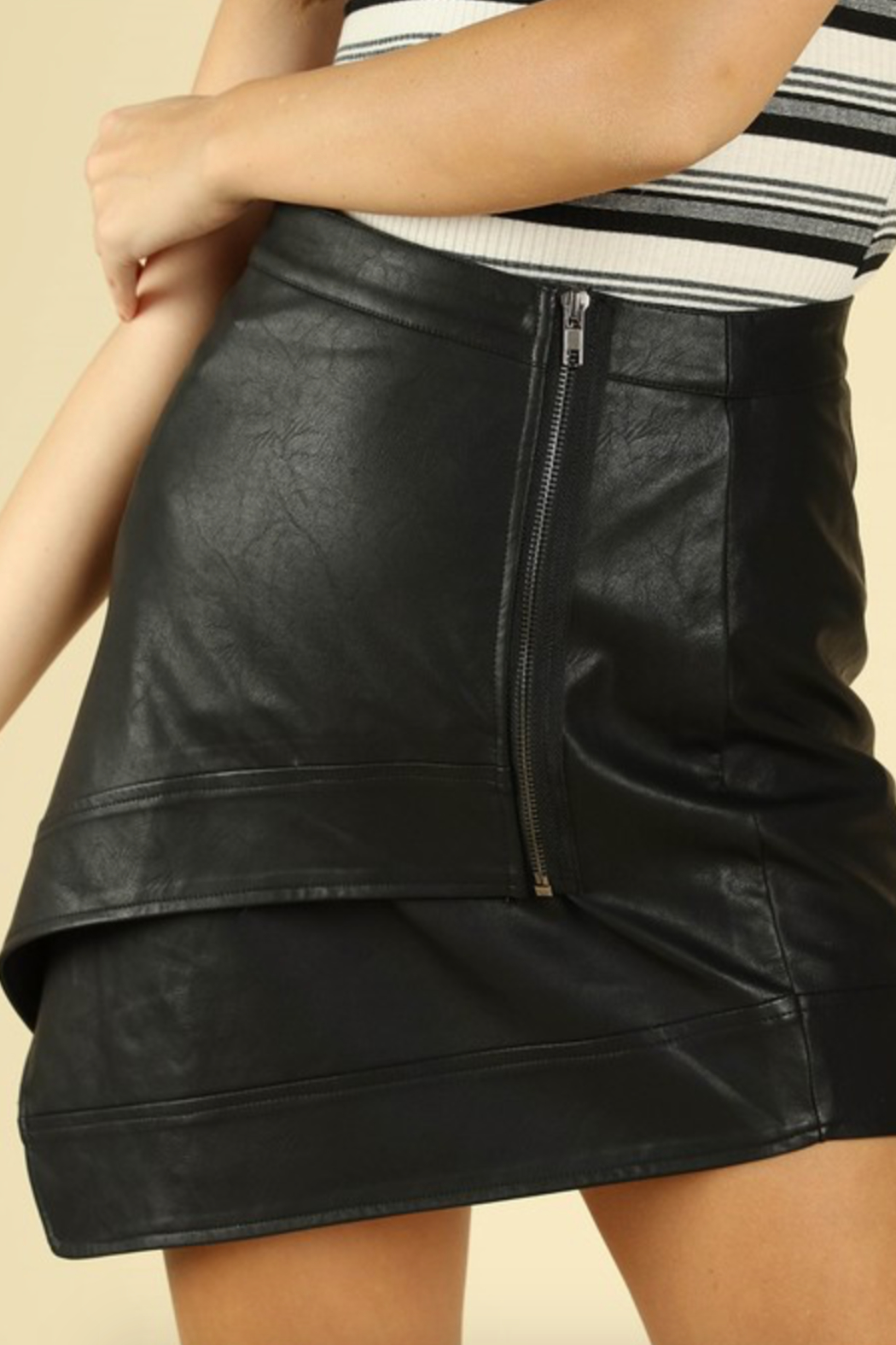 Honey Punch Asymetrical Leather Mini Skirt - Side Cropped Image
