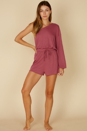 blue blush Asymmetric Balloon Sleeve Romper - Product Mini Image