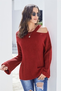 Shewin Asymmetric Cut Out Shoulder Pullover Sweater - Product List Image
