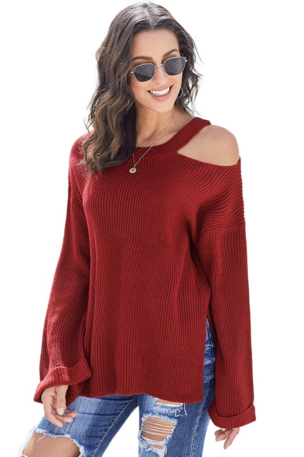 Shewin Asymmetric Cut Out Shoulder Pullover Sweater - Front Full Image