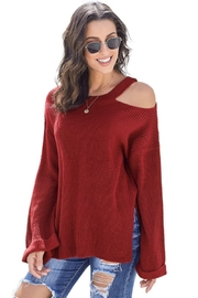 Shewin Asymmetric Cut Out Shoulder Pullover Sweater - Front full body