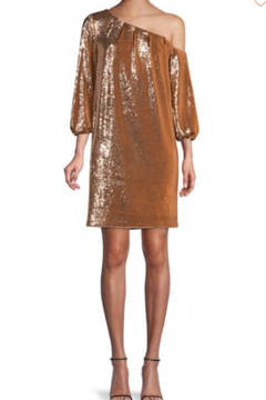 Aidan Mattox Asymmetric Off-the-Shoulder Puff-Sleeve Sequin Shift Dress - Product List Image