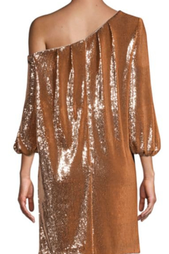 Aidan Mattox Asymmetric Off-the-Shoulder Puff-Sleeve Sequin Shift Dress - Alternate List Image