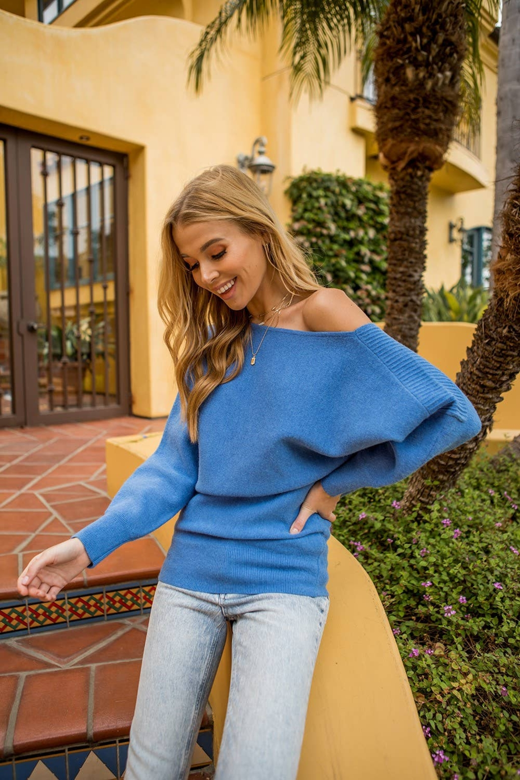 Vision Asymmetric pintucked shoulder sweater - Main Image