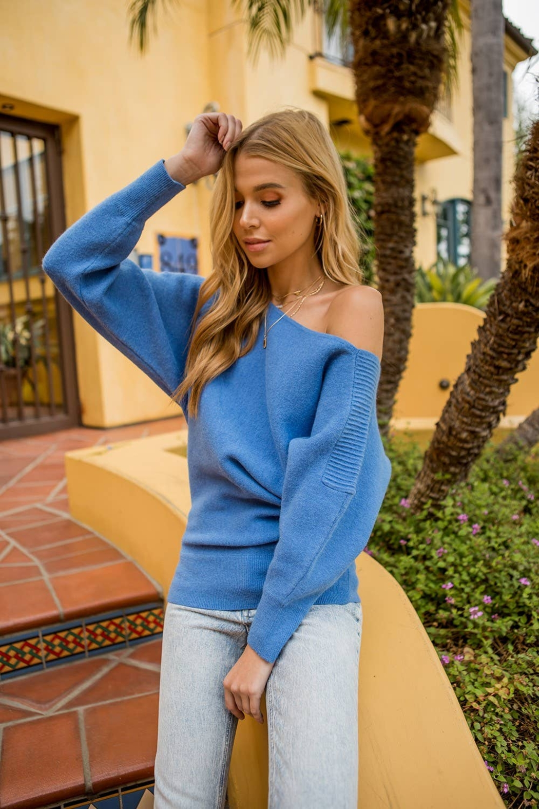 Vision Asymmetric pintucked shoulder sweater - Front Full Image