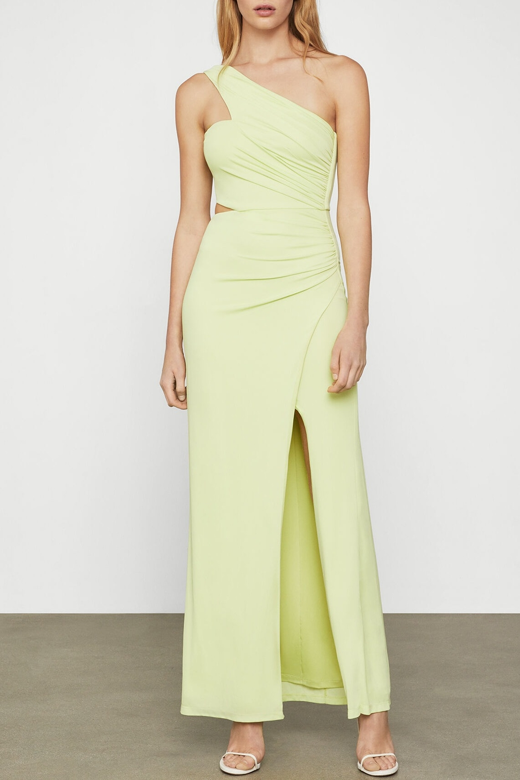 BCBG MAXAZRIA Asymmetric Satin Cutout Gown - Front Cropped Image