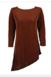 Magic Scarf Asymmetric Slinky Brown Tunic - Product Mini Image
