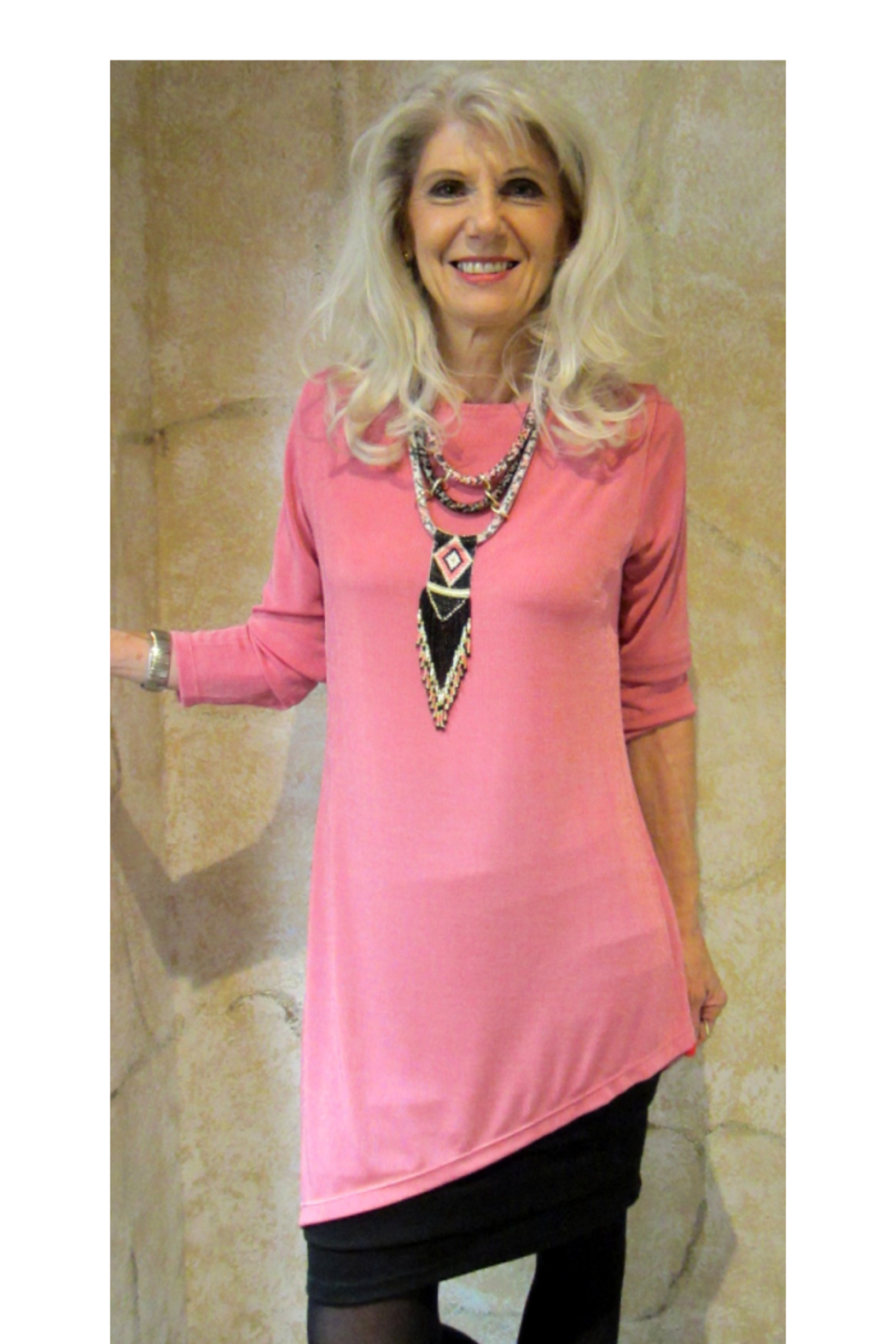 Magic Scarf Asymmetric Slinky Raspberry Tunic - Front Cropped Image