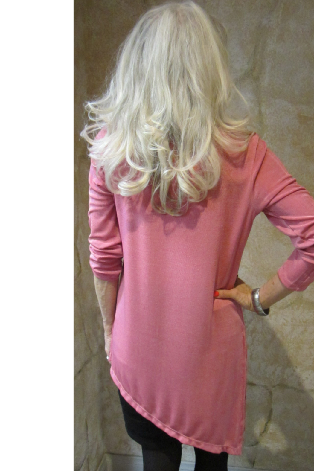 Magic Scarf Asymmetric Slinky Raspberry Tunic - Front Full Image