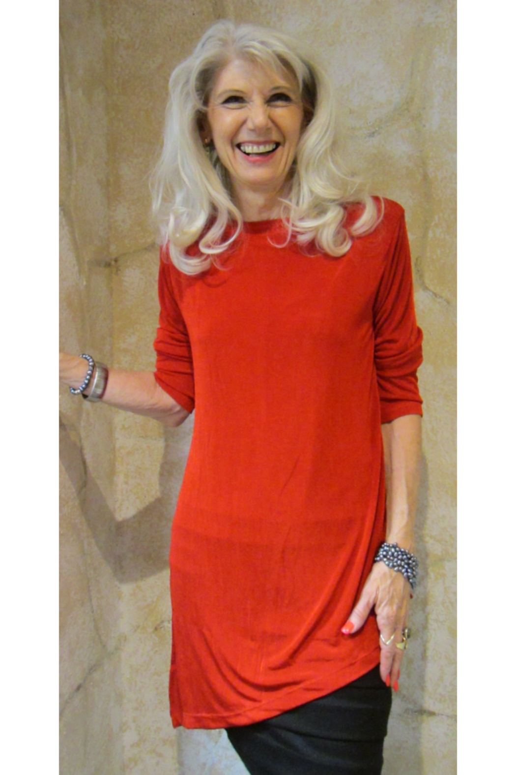 Magic Scarf Asymmetric Slinky Red Tunic - Front Cropped Image
