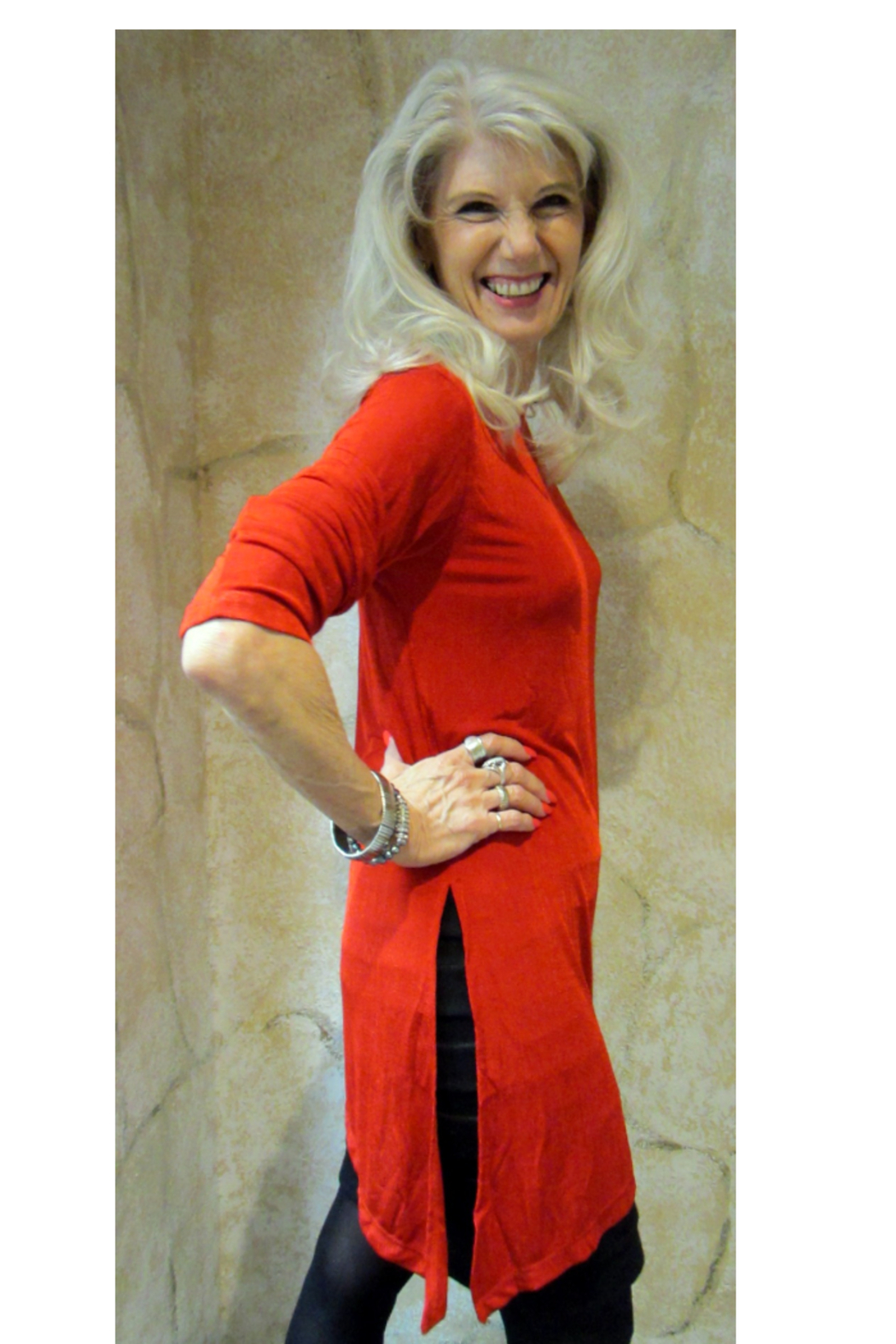 Magic Scarf Asymmetric Slinky Red Tunic - Front Full Image