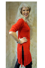 Magic Scarf Asymmetric Slinky Red Tunic - Front full body