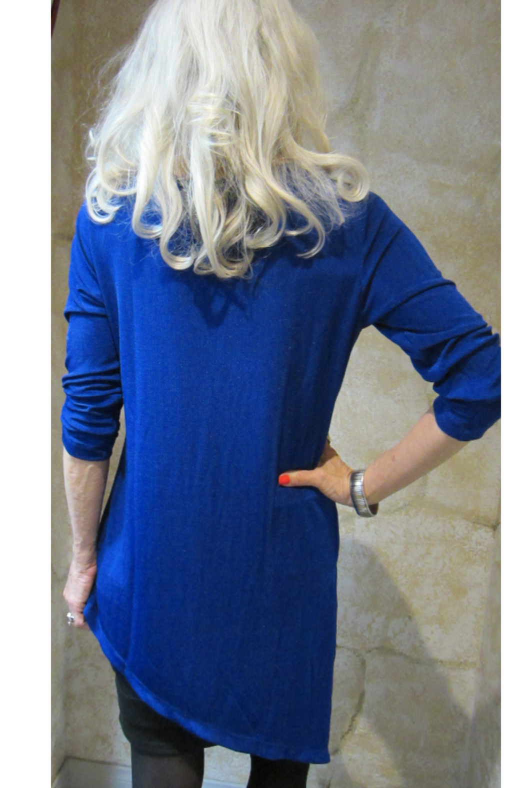 Magic Scarf Asymmetric Slinky Royal Tunic - Side Cropped Image
