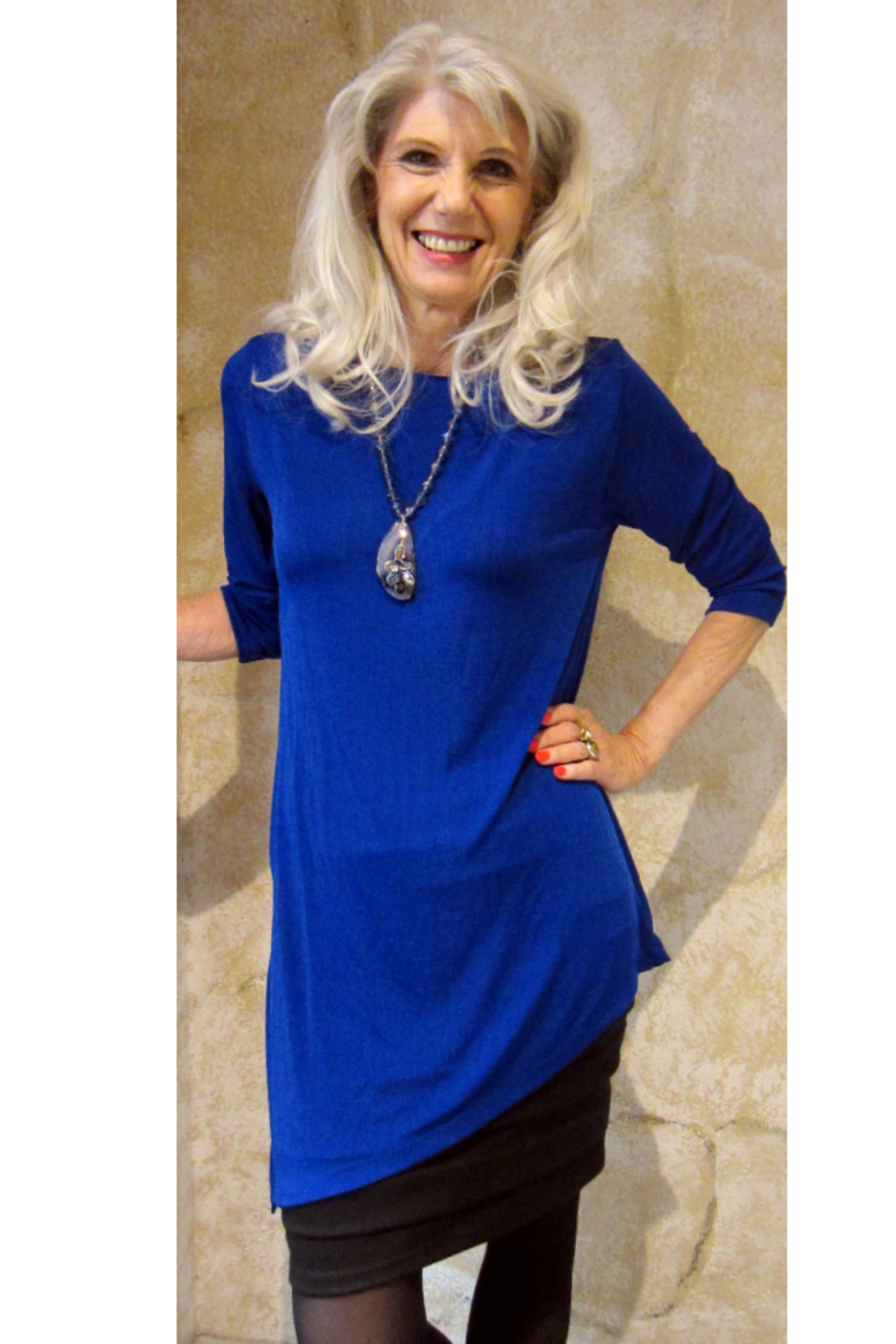 Magic Scarf Asymmetric Slinky Royal Tunic - Main Image
