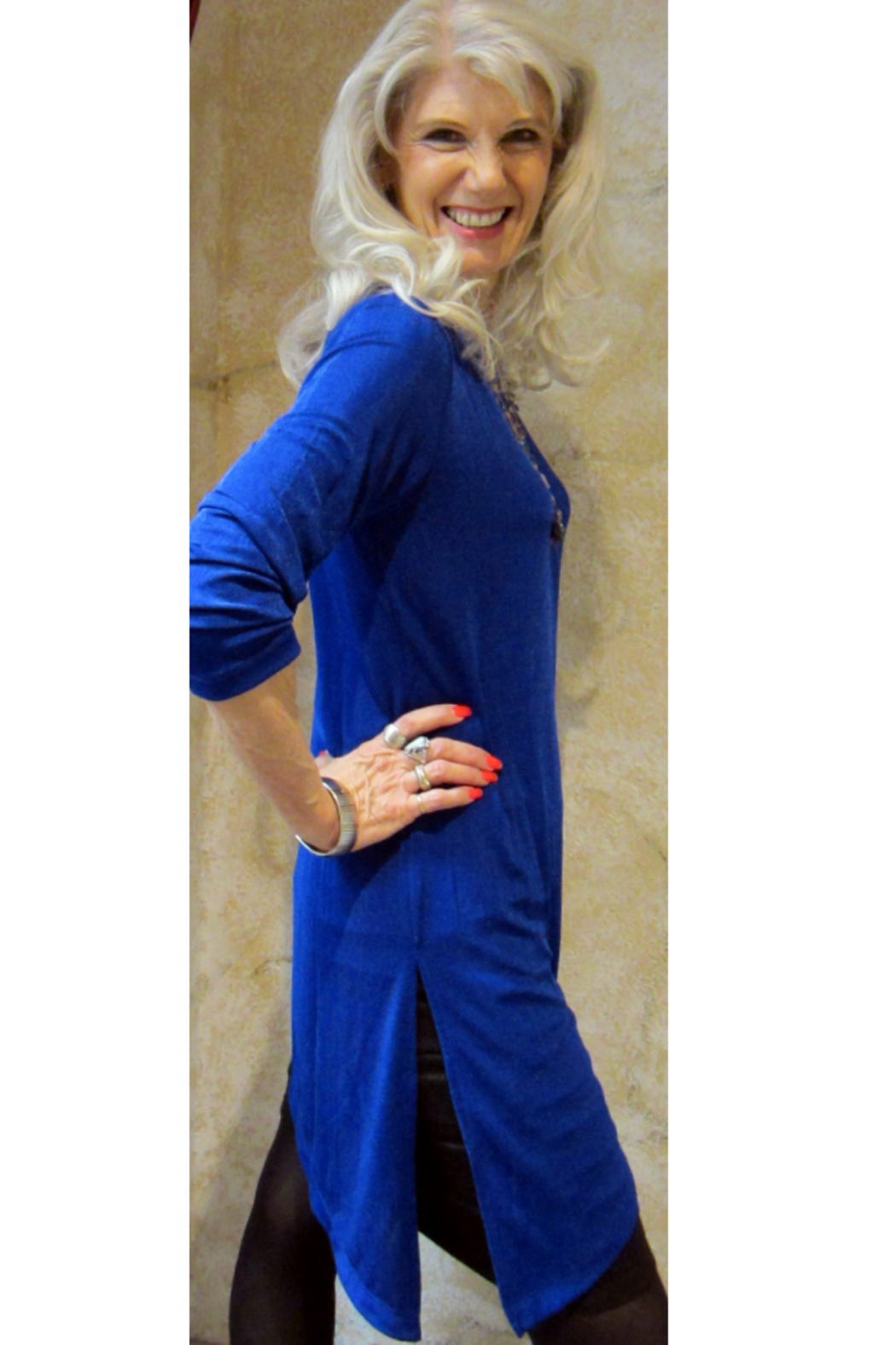 Magic Scarf Asymmetric Slinky Royal Tunic - Front Full Image