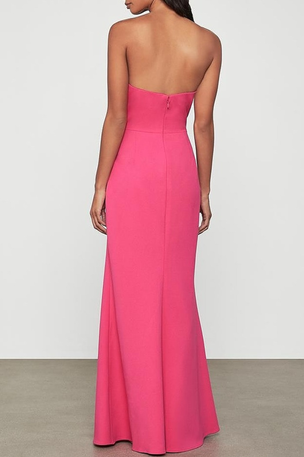BCBG MAXAZRIA Asymmetric Strapless Gown with Slit - Side Cropped Image