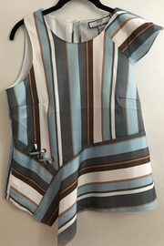 Katherine Barclay Asymmetric Striped Top - Product Mini Image