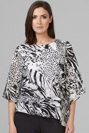 Joseh Ribkoff Asymmetrical animal print top with tiered ruffle front - Product Mini Image