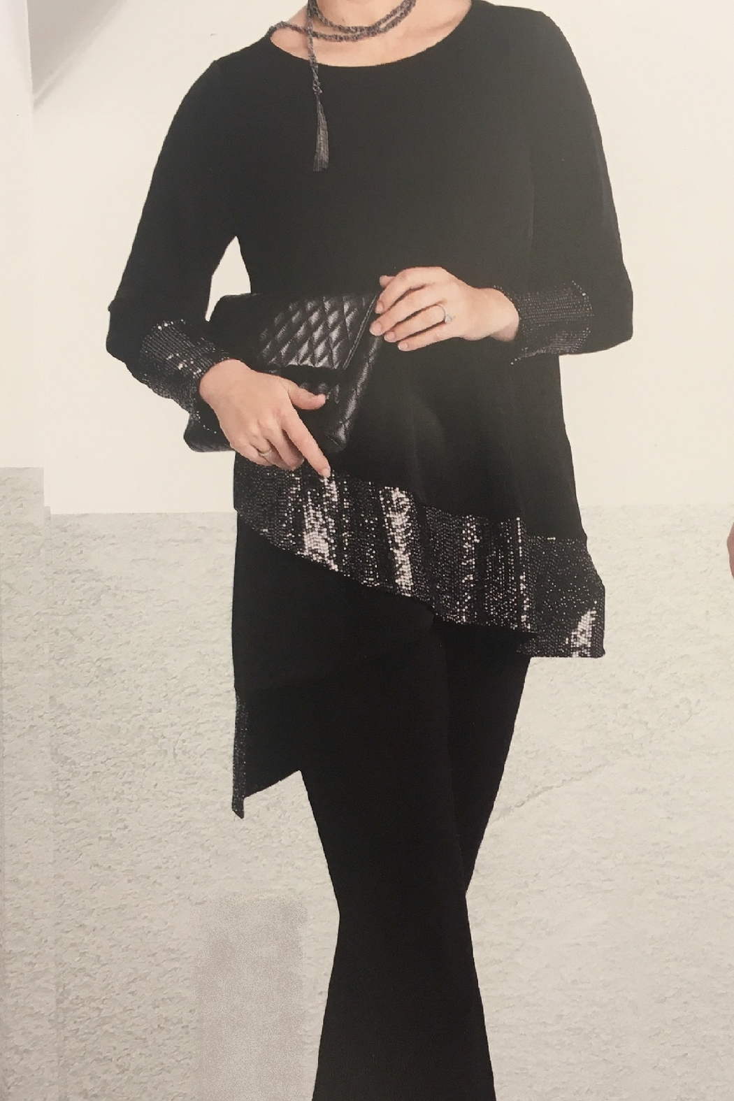 IC Collection Asymmetrical Black Sequin Jersey Top - Main Image