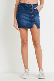Pretty Little Things Asymmetrical Button Skirt - Front cropped