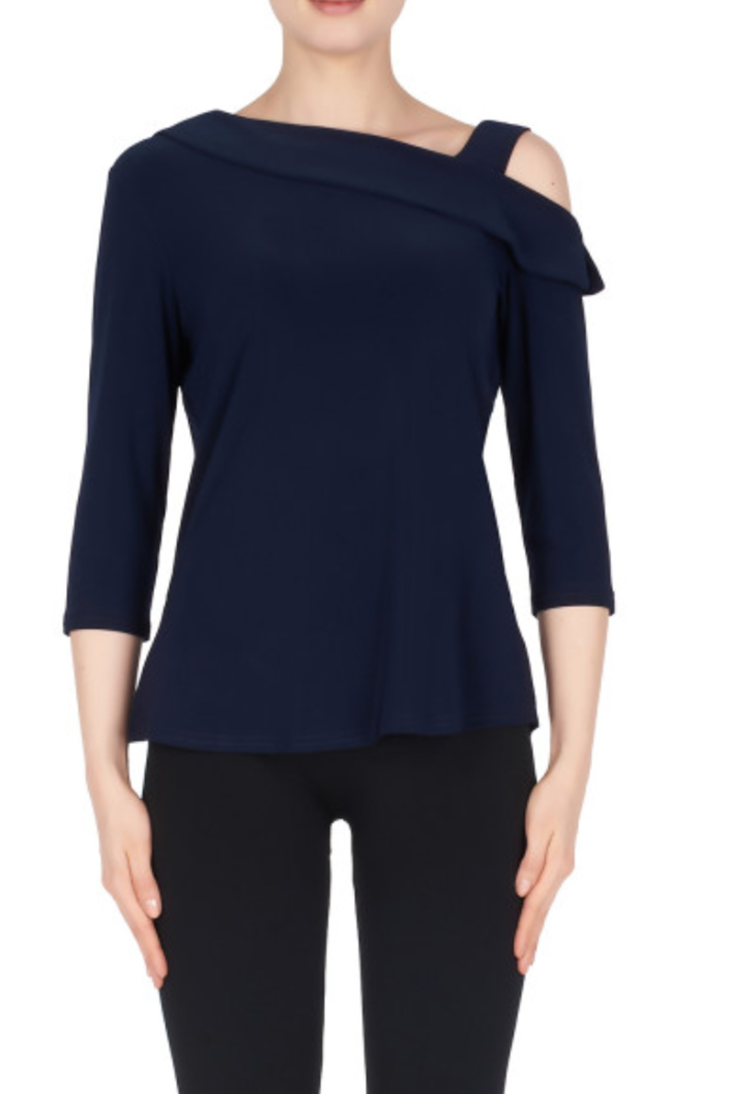 Joseph Ribkoff Asymmetrical Cold-Shoulder Top - Front Cropped Image