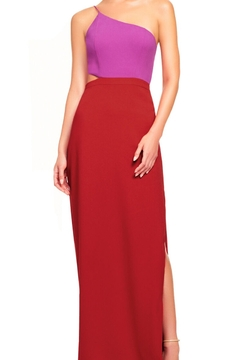 Aidan Mattox Asymmetrical Color Block Cutout Gown - Product List Image