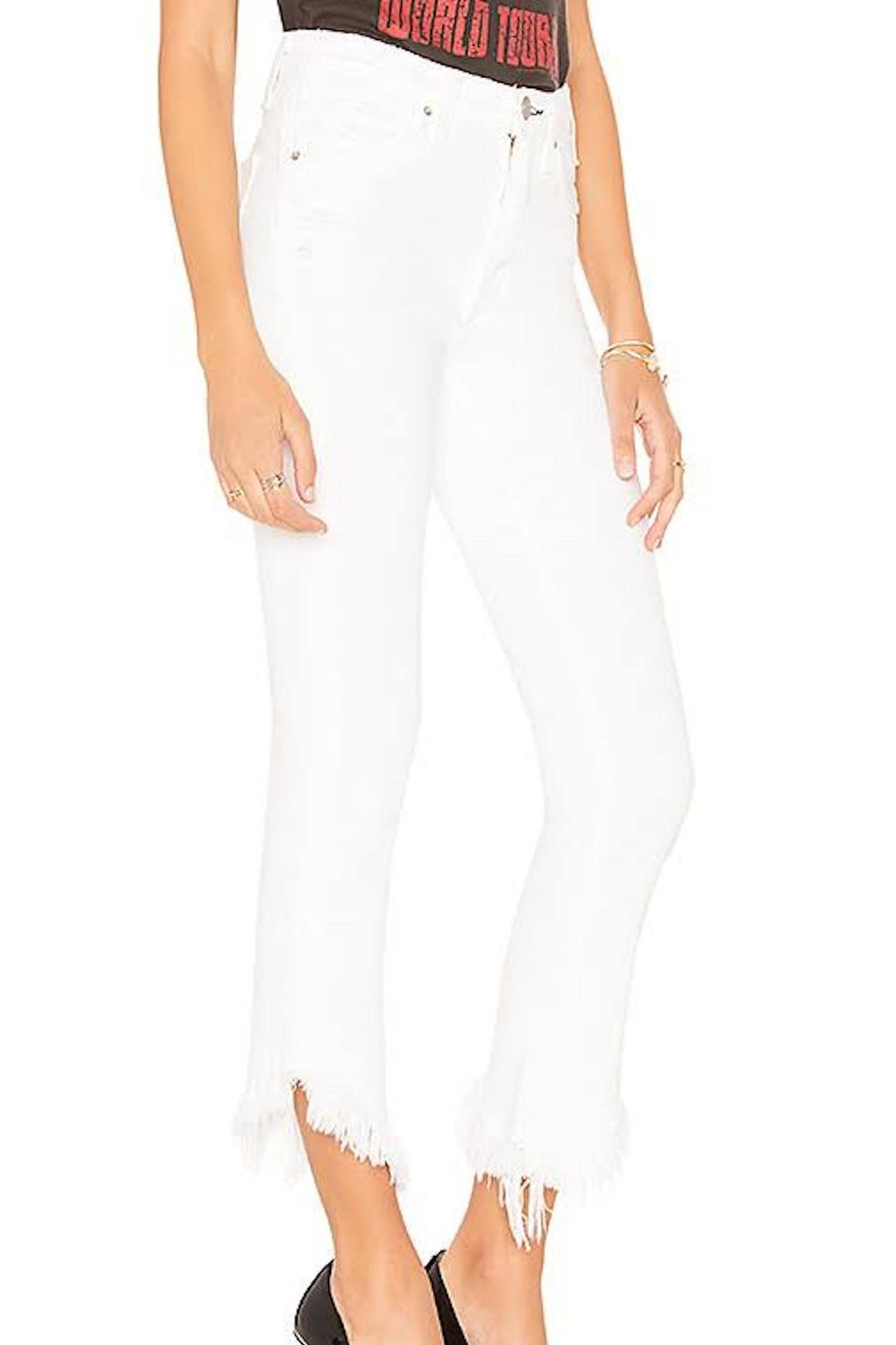 MCGUIRE DENIM Asymmetrical Cropped Jeans - Front Full Image