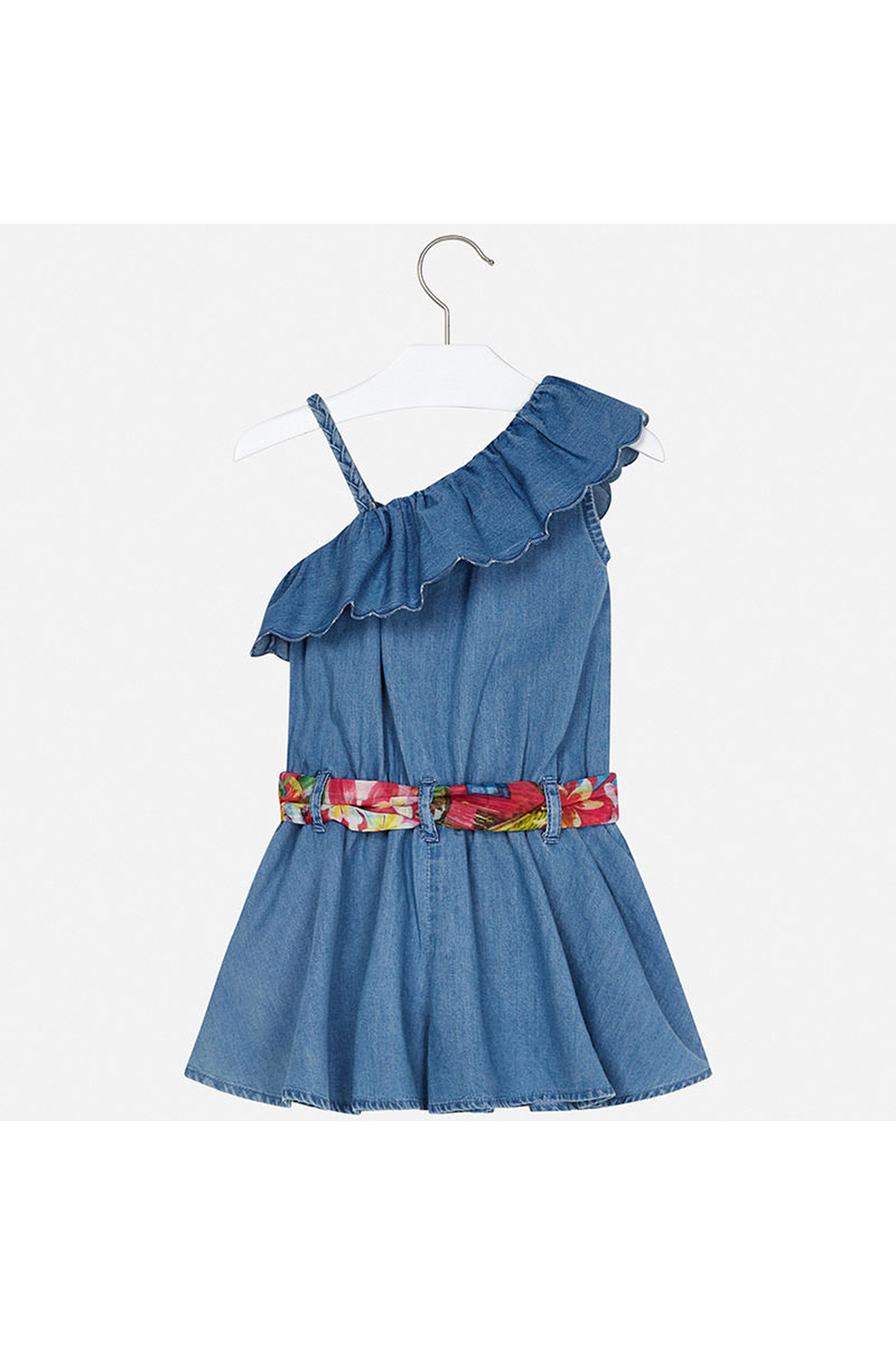 Mayoral Asymmetrical Denim Romper - Side Cropped Image