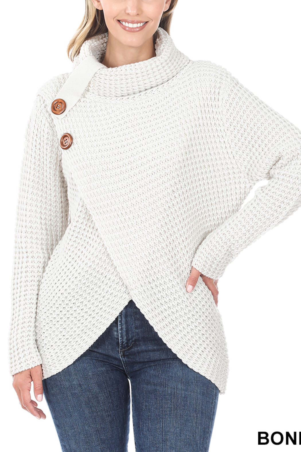 Lyn-Maree's  Asymmetrical Hem Sweater - Front Cropped Image