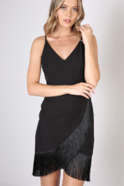 Love Tree  Asymmetrical Hem with Fringe Dress - Front cropped