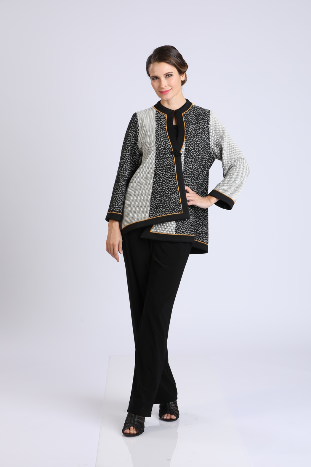 IC Collection Asymmetrical Knit Jacket IC COLLECTION 2076J - Main Image