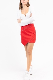 Le Lis Asymmetrical Leather Zip Skirt - Front cropped