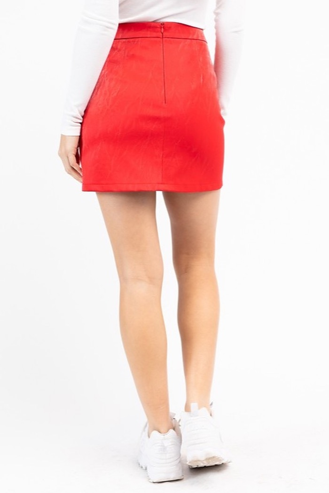 Le Lis Asymmetrical Leather Zip Skirt - Side Cropped Image