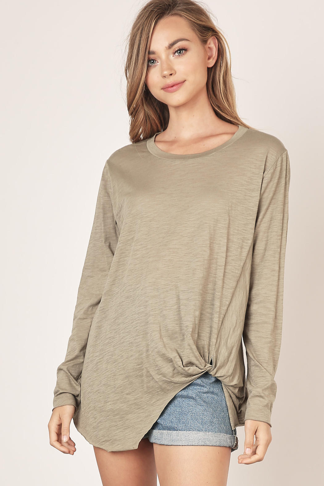 Mustard Seed  Asymmetrical Long Sleeve Top - Front Cropped Image
