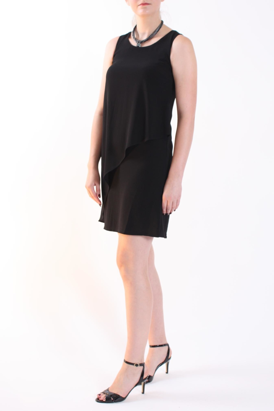 Talk of the Walk Asymmetrical Overlay Dress - Front Full Image