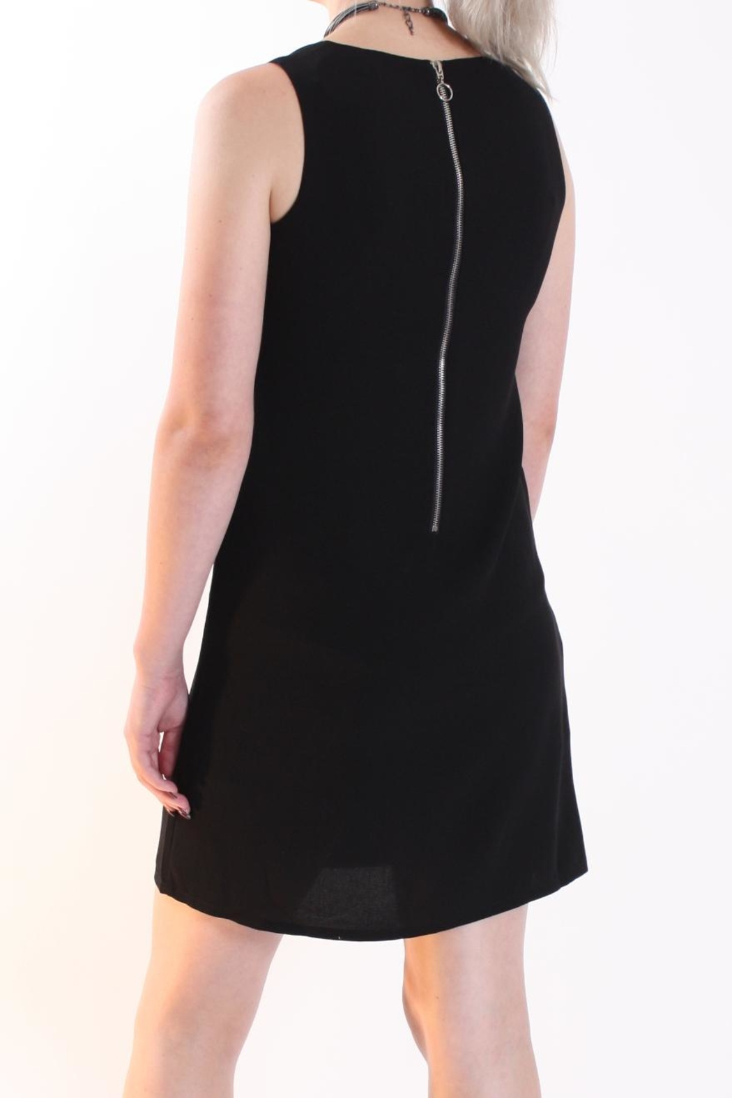 Talk of the Walk Asymmetrical Overlay Dress - Back Cropped Image