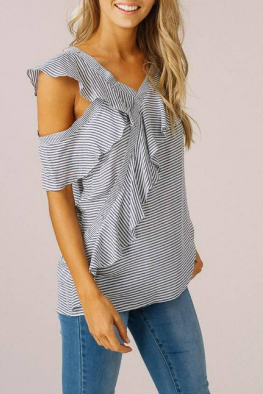 Listicle Asymmetrical Ruffle Top - Front Full Image