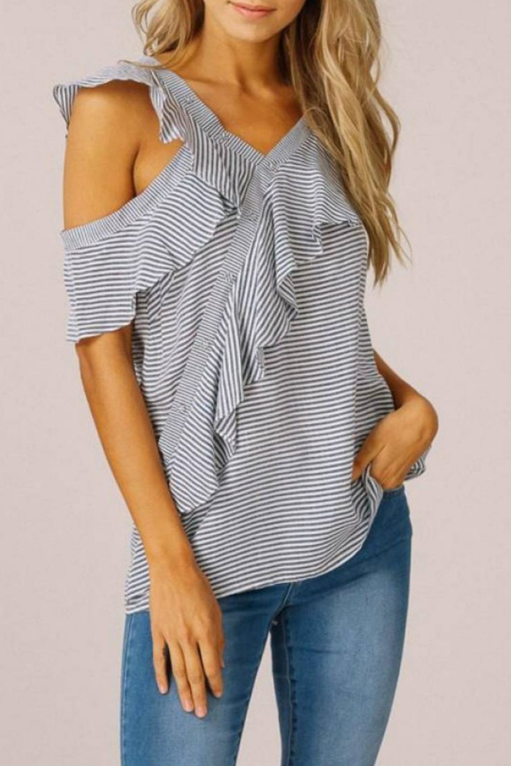 Listicle Asymmetrical Ruffle Top - Main Image