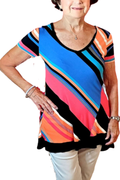 Cable & Gauge Asymmetrical Striped Tunic - Product List Image