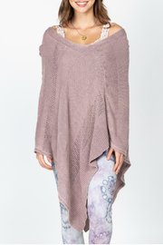 M-rena  Asymmetrical Sweater Poncho with Pointelle. - Product Mini Image