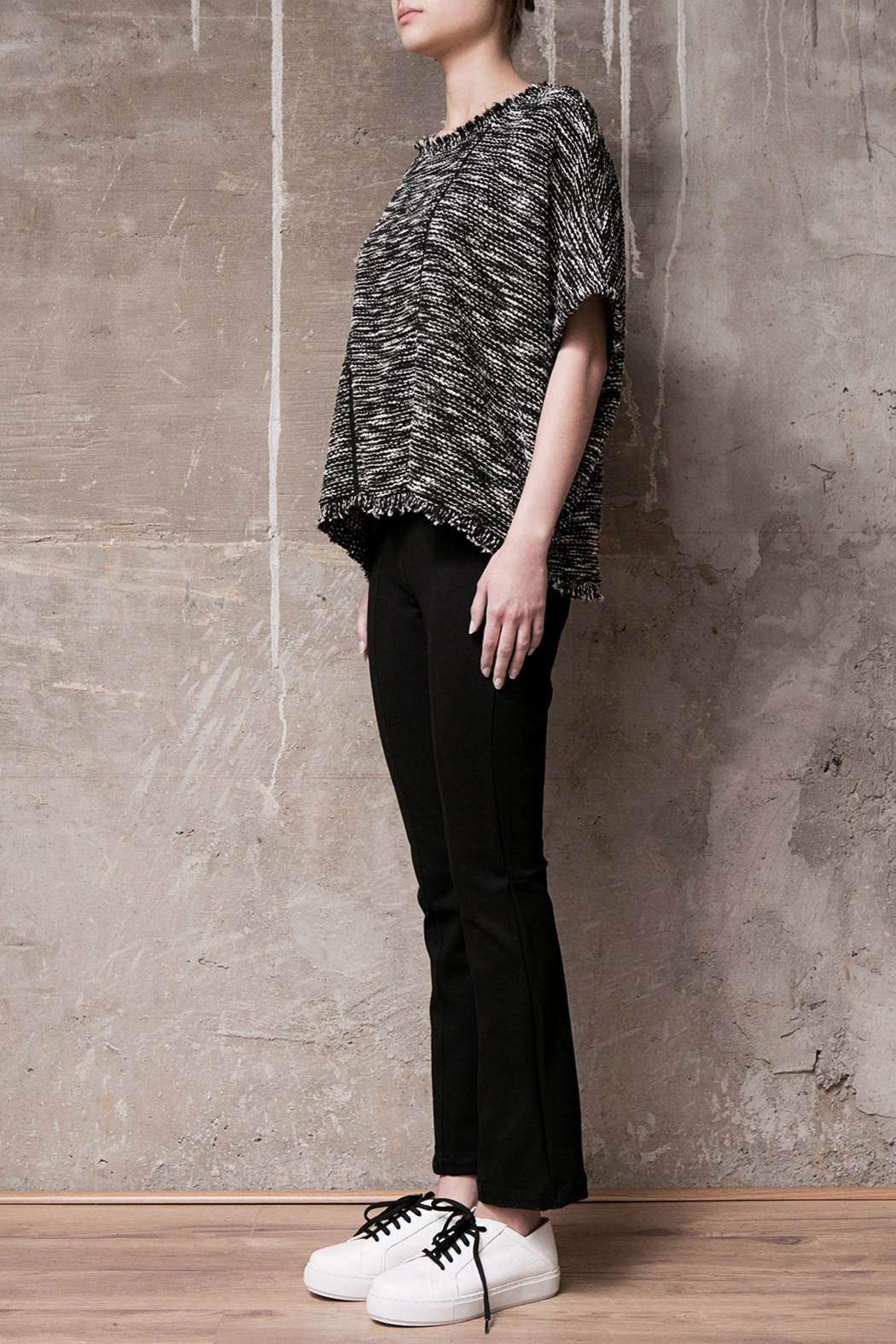 Atelier B.A. Knitted Poncho Granito - Front Full Image