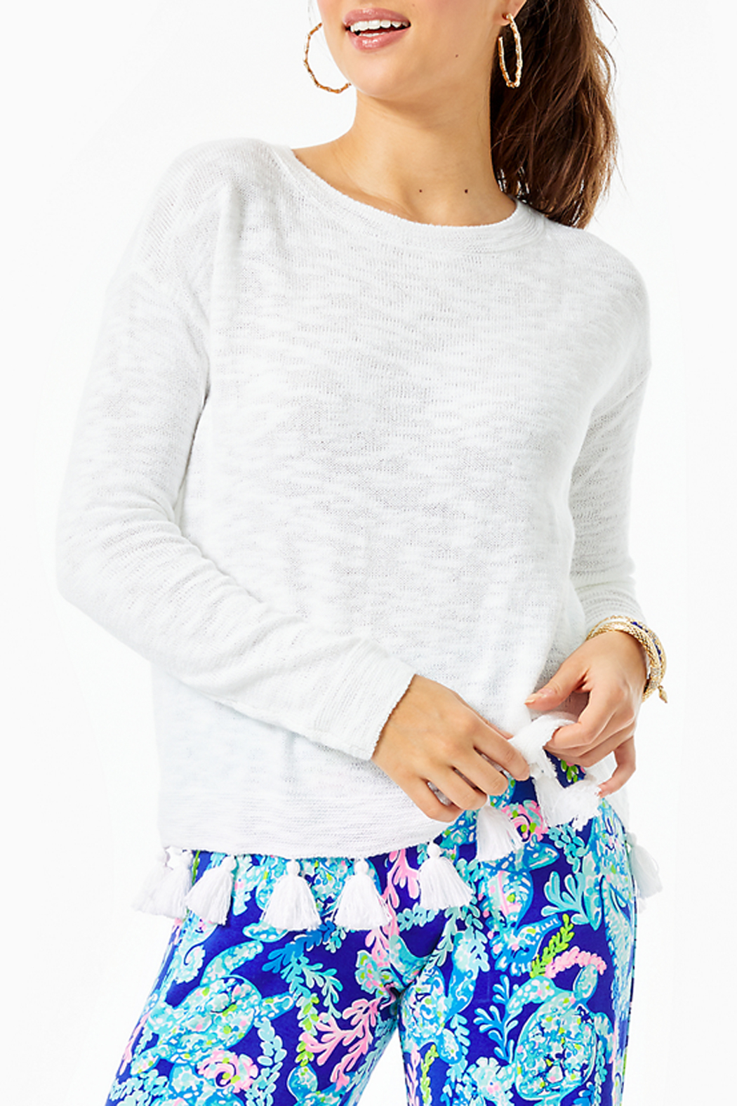Lilly Pulitzer Athea Tassel Sweater - Front Cropped Image