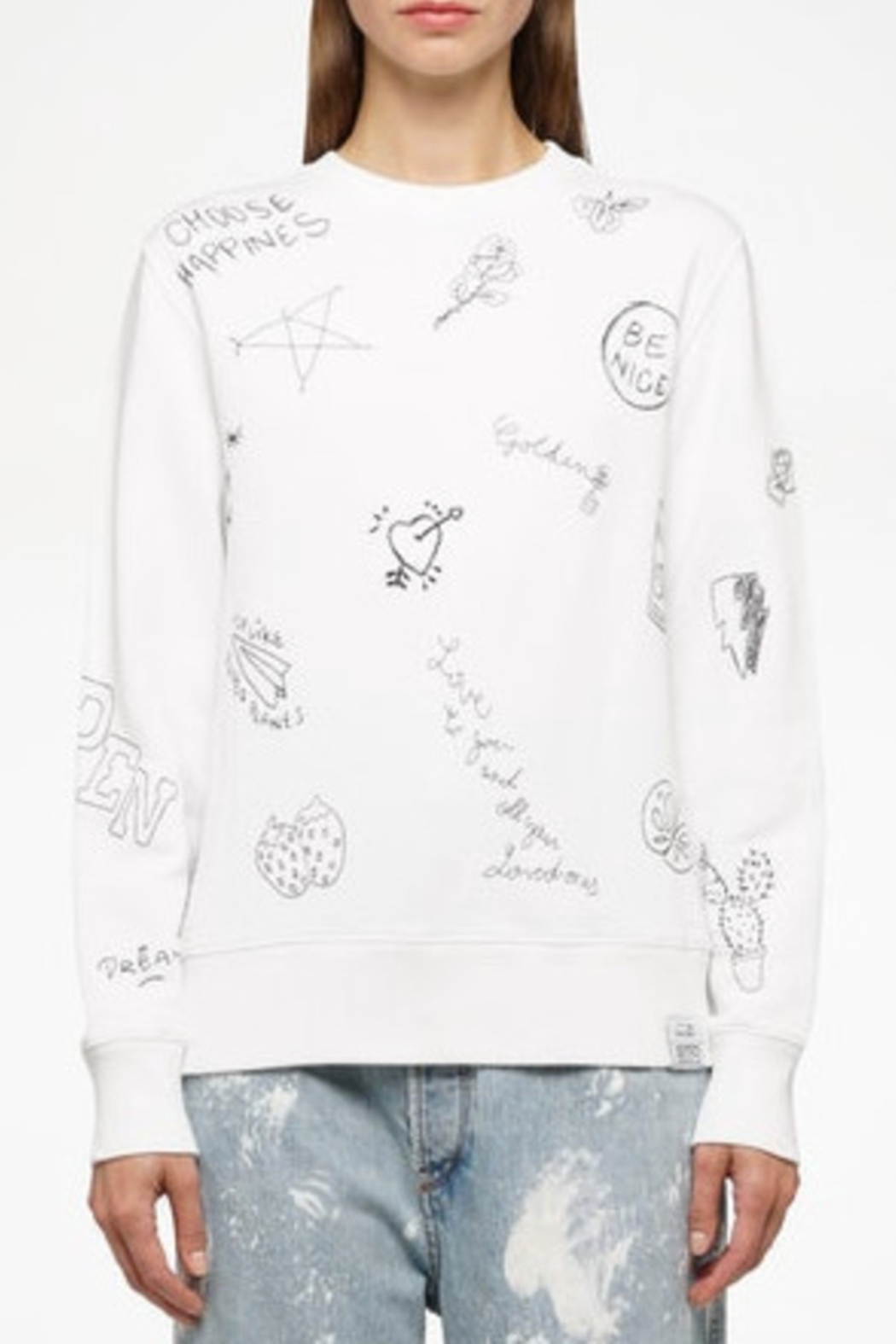 Golden Goose Deluxe Brand Athena Crewneck Star Sweatshirt - Front Cropped Image