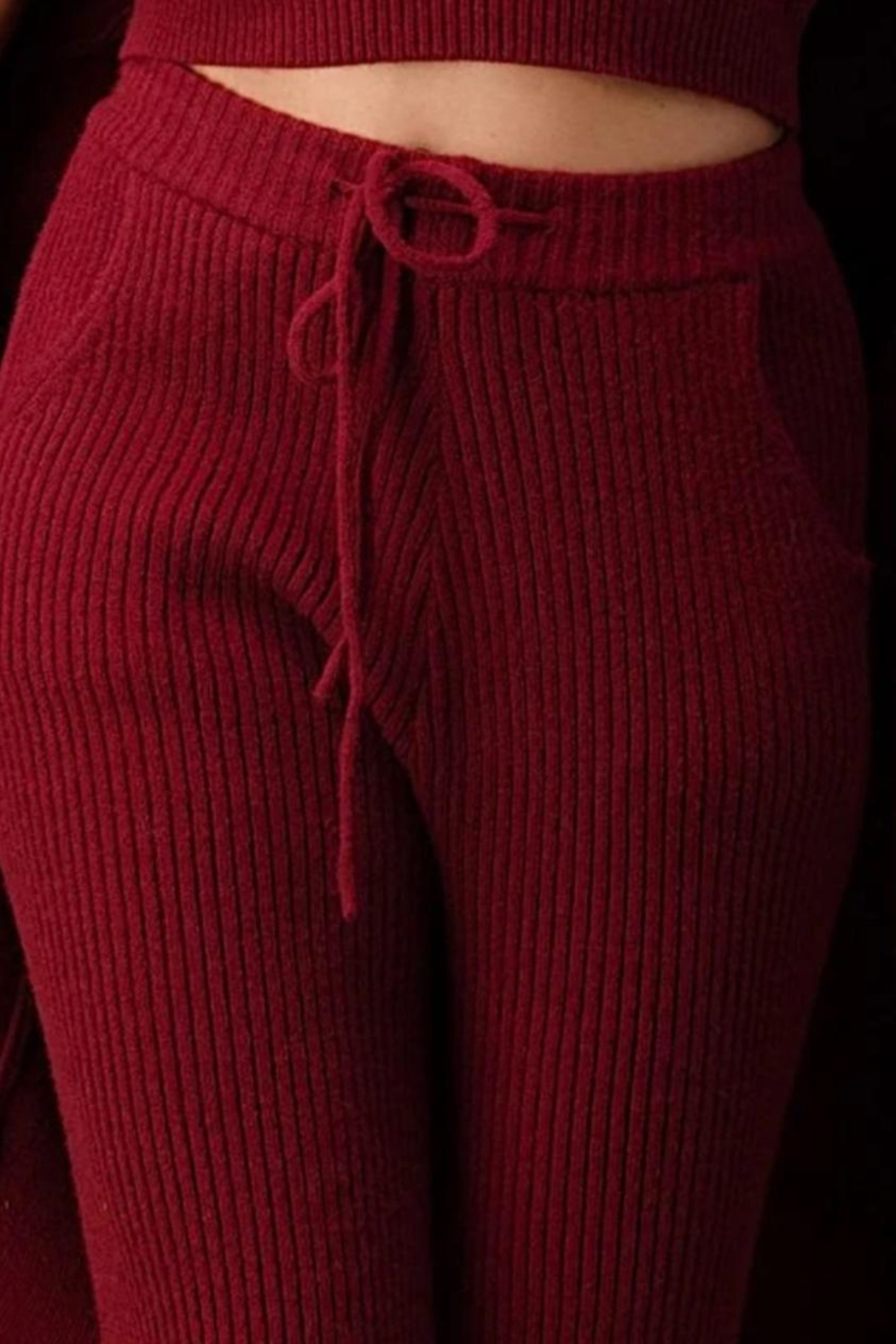 Athina Cherry Red 3pc Knit Pants Set - Side Cropped Image