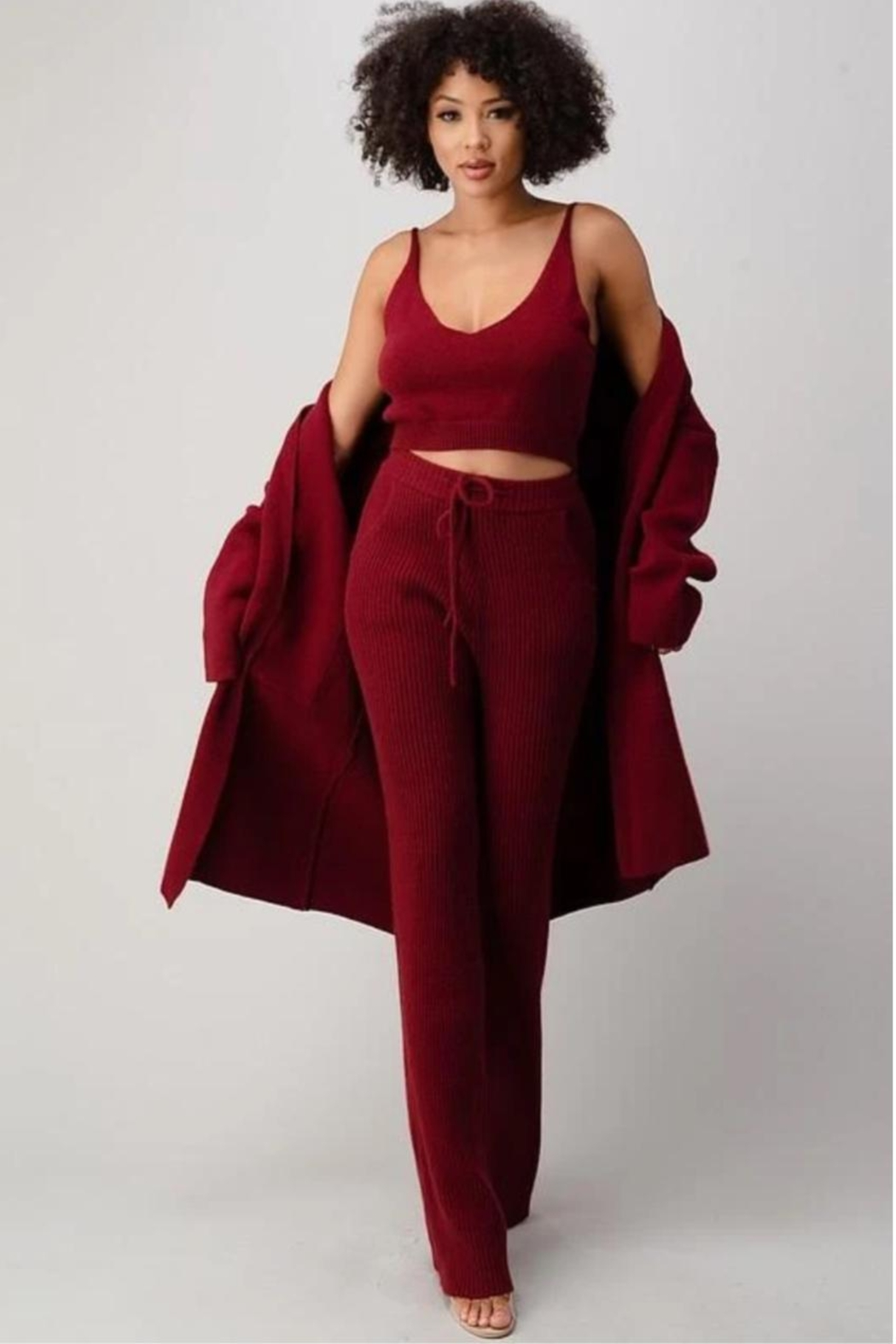 Athina Cherry Red 3pc Knit Pants Set - Main Image