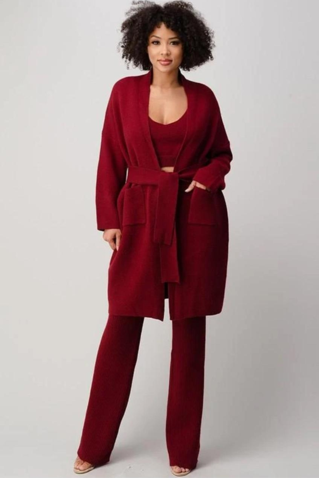 Athina Cherry Red 3pc Knit Pants Set - Front Full Image
