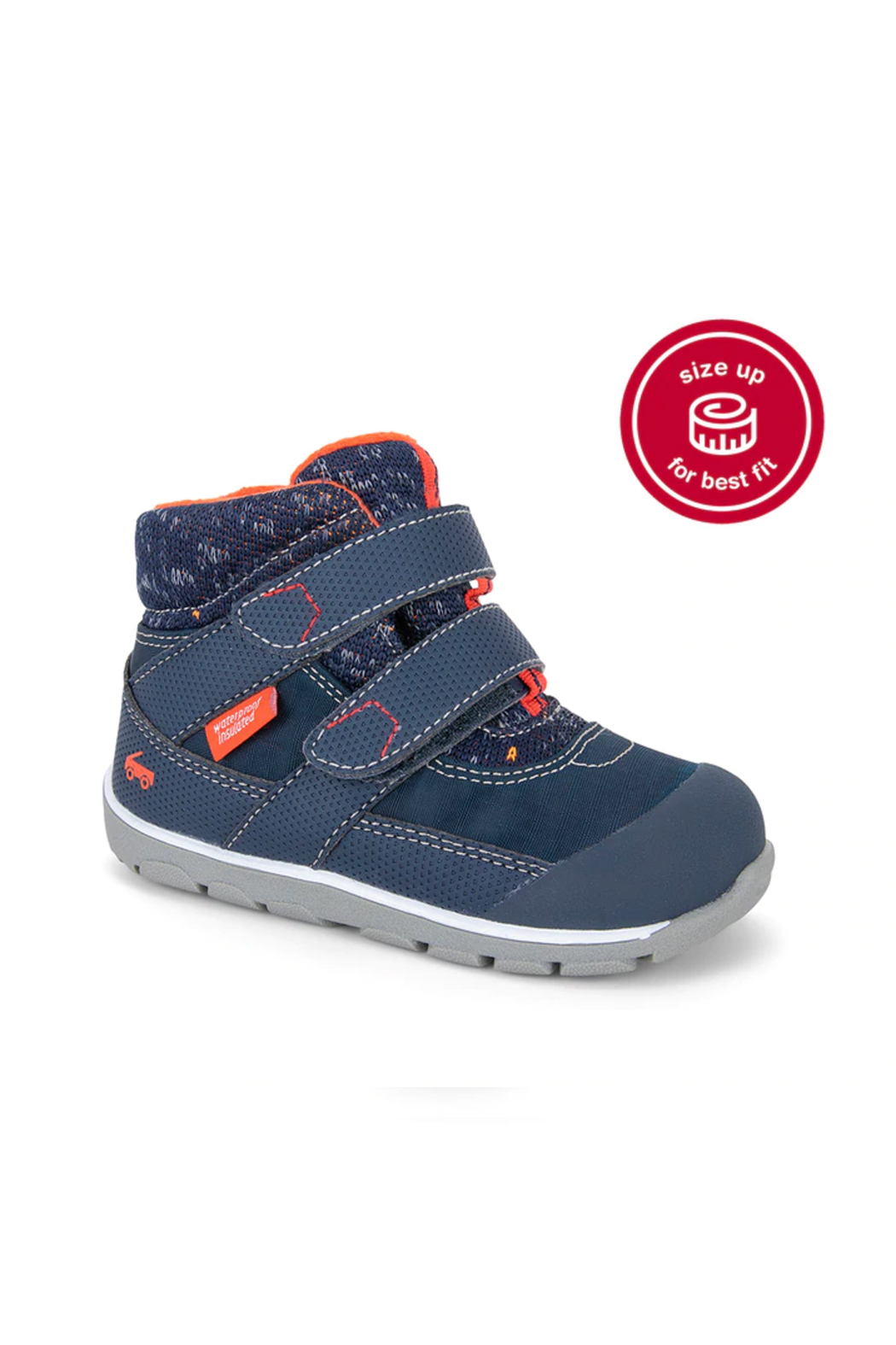 See Kai Run Atlas Waterproof Insulated Boot - Navy/Red - Back Cropped Image