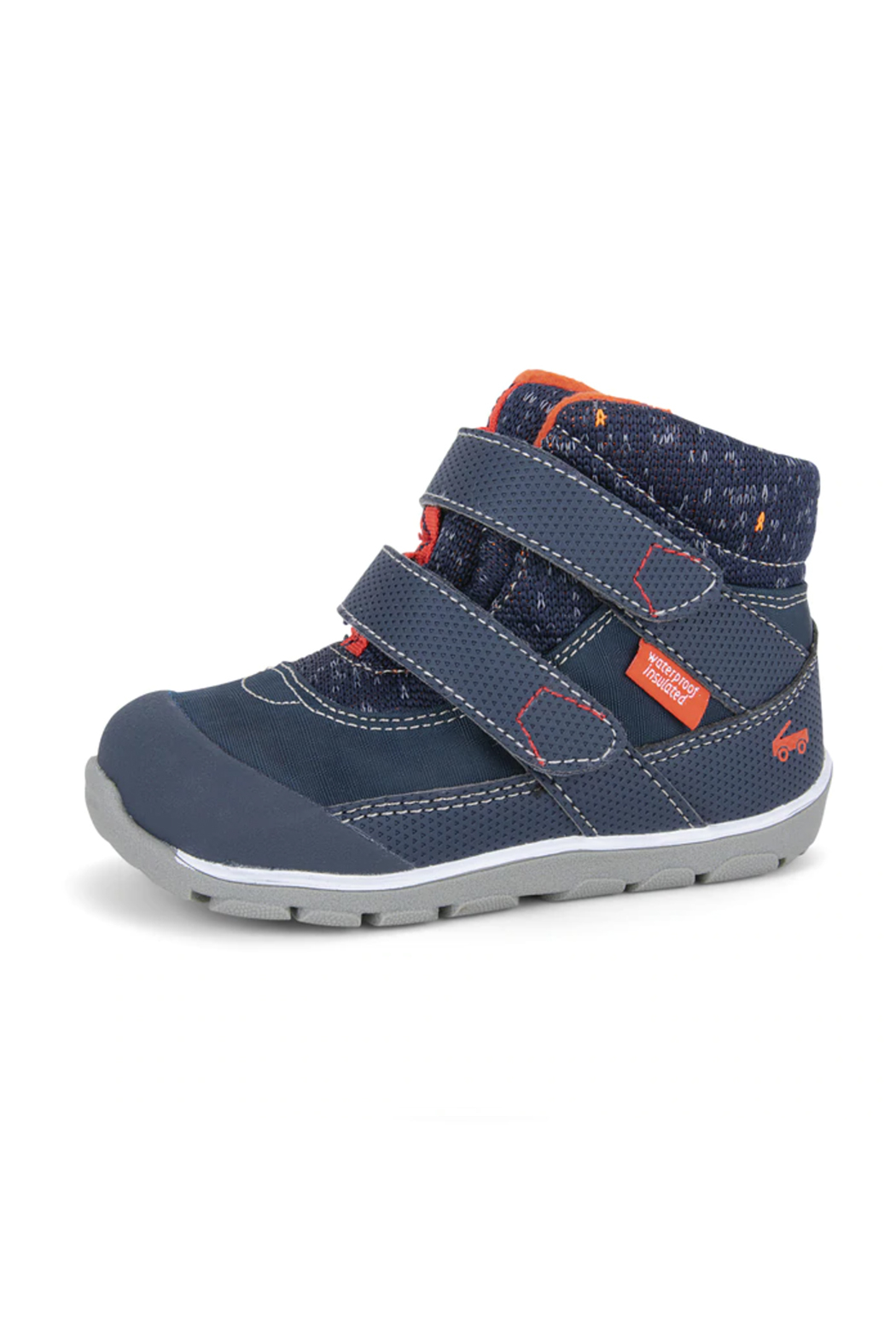 See Kai Run Atlas Waterproof Insulated Boot - Navy/Red - Front Cropped Image